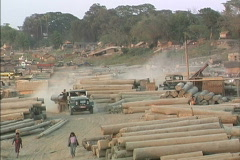 Myanmar Log truck & logs Stock Footage