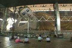 Myanmar Reclining Buddha Yangon Stock Footage