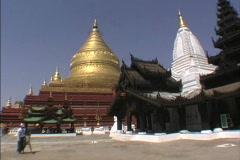 Myanmar Shwezigon Pagoda Bagan Stock Footage