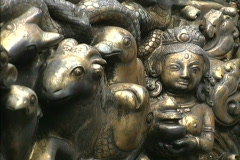 Nepal Mythic carving Patan Stock Footage