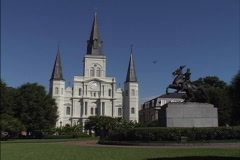 New Orleans Jackson Square and Cathedral  Stock Footage