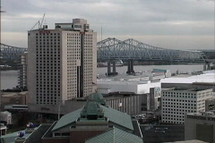 New Orleans Mississippi bridge & city Stock Footage