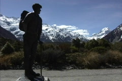 New Zealand Statue of Sir Edmund Hillary Stock Footage