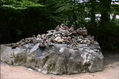 Pilgrims' votive rock Stock Footage
