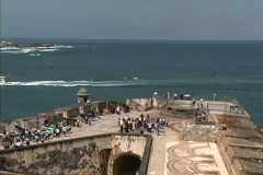 Puerto Rico El Morro and sea Stock Footage