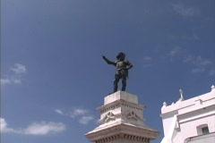 Puerto Rico Ponce de Leon statue Stock Footage
