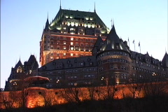 Quebec Chateau Frontenac night 2 Stock Footage