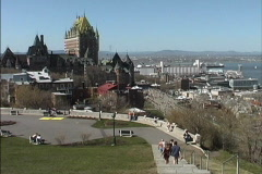 Stock Video Footage of Quebec Old Port & Chateau Frontenac