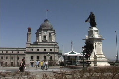 Quebec Statue of Champlain Stock Footage