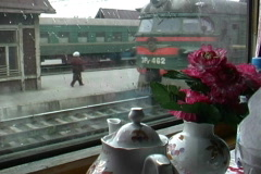 View of train From train window Stock Footage