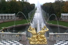Petrodvorets fountains near St. Petersburg Stock Footage