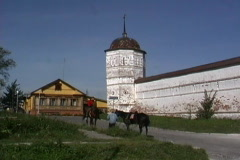 Suzdal convent walls in Russia Stock Footage