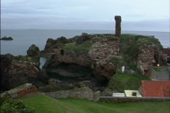 Scotland Harbor ruins Dunbar Scotland Stock Footage