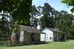Slave cabins Audubon State Park LA Stock Footage