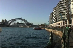 Sydney Harbor bridge from center Stock Footage