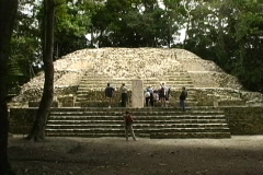 Temple;stele at Lamanai Belize Stock Footage