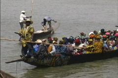Passenger canoe Niger River Stock Footage