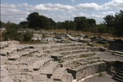 Seats of Roman theater seats at Troy Stock Footage