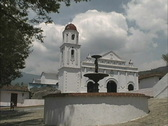 Stock Video Footage of Church & fountain in an Andean village Venezuela