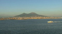 Bay of Naples and Vesuvius with boat Stock Footage