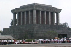 Vietnam Crowds Ho Chi Minh tomb Stock Footage