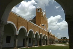 Yucatan 16th century church Izamal Stock Footage