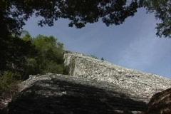 Steps up pyramid Coba Quintana Roo Stock Footage