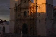 Tilts up church Campeche Stock Footage