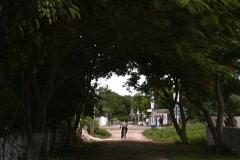 Yucatan Village with boy on bike - stock footage