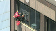 Stock Video Footage of Window Washer HD