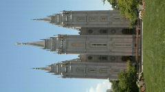 Mormon SLC Temple close Verticle P HD 0696 Stock Footage