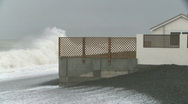 Storm sea crashes house  Stock Footage
