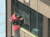 Stock Video Footage of Window Washer NTSC