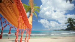 empty hammock on beautiful beach audio - stock footage