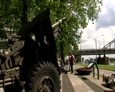 Airborne monument at the Arnhem Bridge Stock Footage