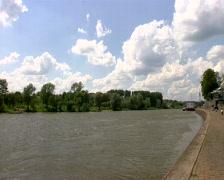 Pan from the river Rhine to the Arnhem Bridge - stock footage