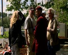 People talking to veteran near the Arnhem Bridge - stock footage