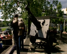 People at the Airborne monument near the Arnhem Bridge Stock Footage