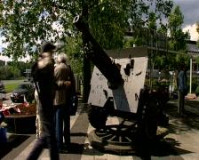 People at the Airborne monument near the Arnhem Bridge - stock footage