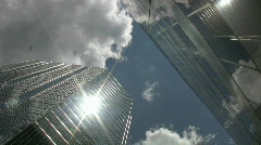 Office towers. Sun and cloud reflections. Stock Footage