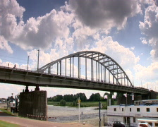 Arnhem Bridge and the river Rhine - stock footage
