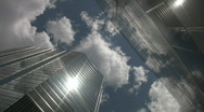 Timelapse towers. Sun and cloud reflections. Stock Footage