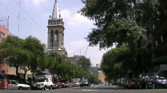Mexico City Church and Street Stock Footage