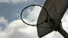 Basketball Hoop with sky background Stock Footage
