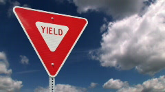Yield Road Sign Background Sky Timelapse Stock Footage