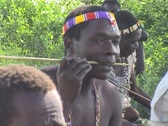 Hadsabe men making arrows in Tanzania Stock Footage