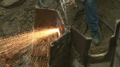 Sparks Fly On Construction Site Stock Footage