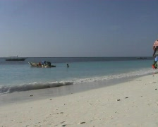 Women with buckets getting fish at the beach on Zanzibar  Stock Footage