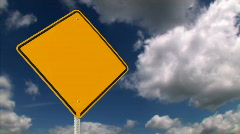 Blank Yellow Road Sign 747 Stock Footage