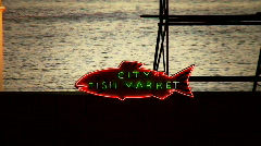 City fish market sign Stock Footage